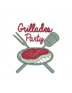 Instant download machine embroidery design Brochettes party