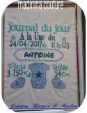 Motif de broderie machine journal de naissance personnalisable