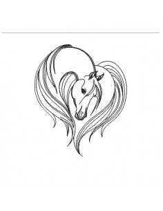 Motif de broderie machine  cheval coeur