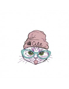 Instant download machine embroidery  cat so cute