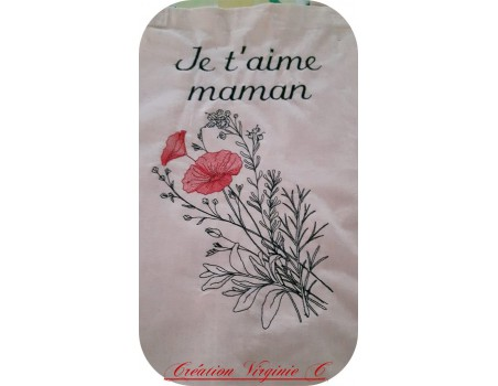 Motif de broderie machine  coquelicots et fleurs champêtres