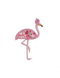 Motif de broderie machine flamant rose appliqué