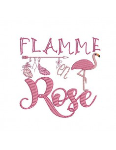 Motif de broderie machine flamant rose, flamme en rose