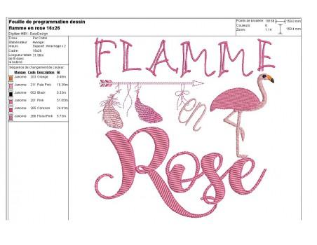 Motif de broderie machine flamant rose, flamme en rose
