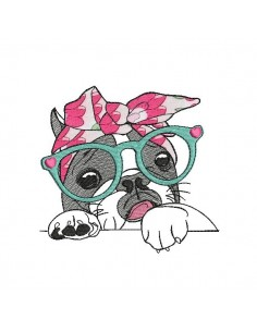 Instant download machine embroidery French bulldog with glasses