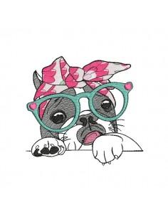 Motif de broderie machine bouledogue Français avec ses lunettes