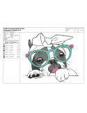 Instant download machine embroidery French bulldog with headphones
