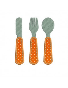 Instant download machine embroidery applique Children's cutlery