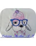 Motif de broderie machine lapin à lunettes