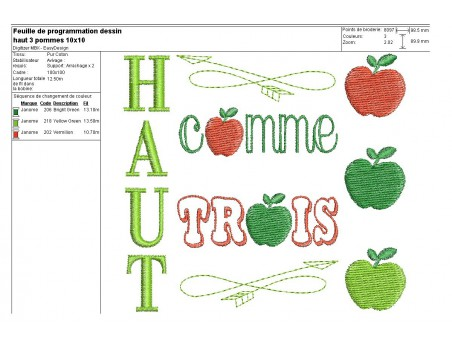 Instant download machine embroidery applique High as 3 apples