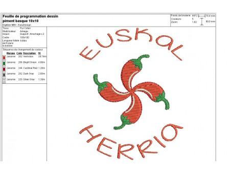 Motif de broderie machine piment Basque