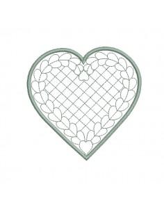 Motif de broderie machine coeur quilting