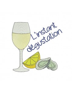 Instant download machine embroidery Mussel and white wine