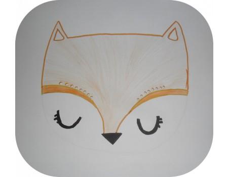 Motif de broderie machine tête de  renard
