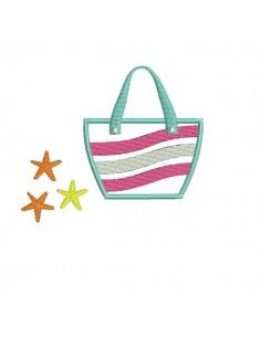 Motif de broderie machine sac de plage appliqué