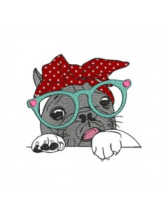 Instant download machine embroidery French black  bulldog with glasses