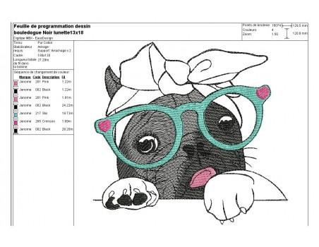 Motif de broderie machine bouledogue Français noir  avec ses lunettes
