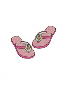 embroidery design Beach flip flops
