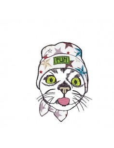 Instant download machine embroidery  cat fun applique