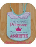 Instant download machine embroidery Princess at table