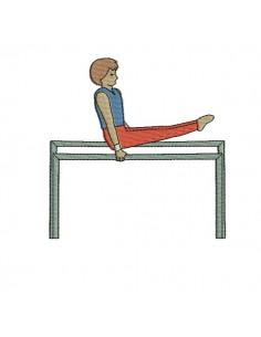 Motif de broderie machine gymnaste sur barre parallèle