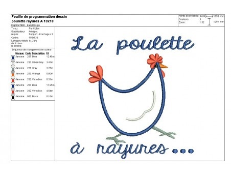 Instant download machine embroidery Hen with stripes