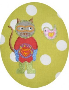 Motif de broderie machine Le chat super héro