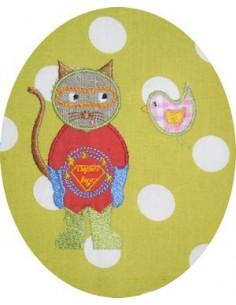 Motif de broderie machine Le chat super héro