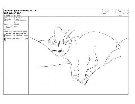 Motif de broderie machine chat qui dort