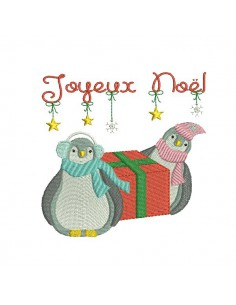 Instant download machine embroidery design christmas penguins