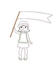 Motif de broderie machine Petite fille au drapeau