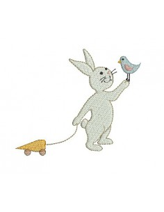 Motif de broderie machine lapin blanc