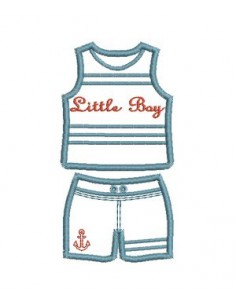 machine embroidery design applique  Bathing Suit Swimsuit children boy