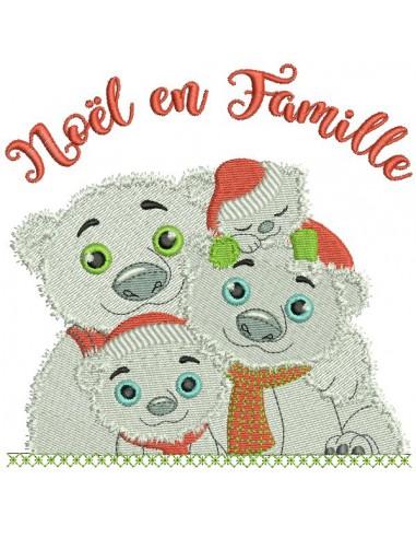 Motif de broderie machine famille ours noël en famille