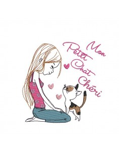 Instant download machine embroidery design girl with her dog
