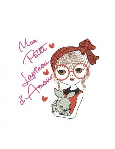 Instant download machine embroidery design girl with her cat
