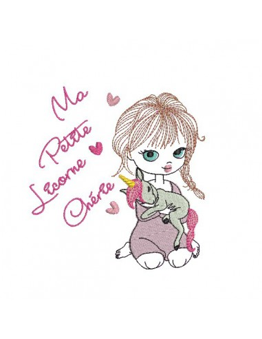 Instant download machine embroidery design girl with her rabbit
