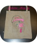 Instant download machine embroidery design girl wearing an ice cream