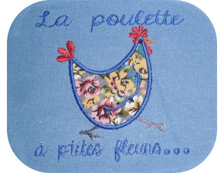 Instant download machine embroidery Hen with flower