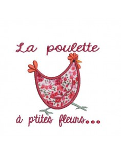 Instant download machine embroidery Hen with flower applique