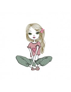 Instant download machine embroidery design girl yoga