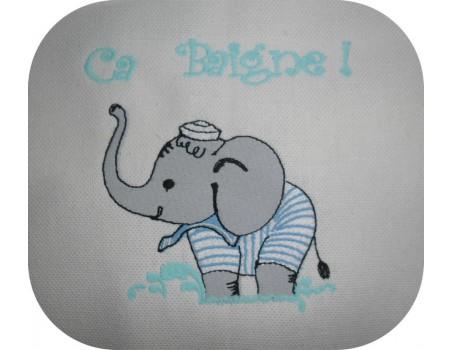 Motif de broderie machine  Eléphant baigneur