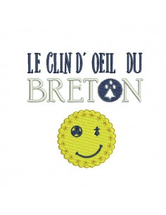Instant download machine embroidery  Breton smiley