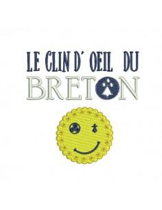 Motif de broderie machine le clin d'oeil du breton