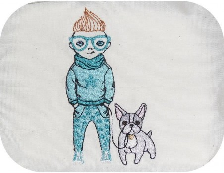 Motif de broderie machine garçon avec son bouledogue
