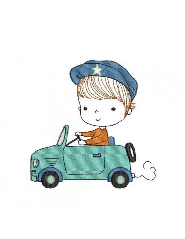 Motif de broderie machine petite garçon en voiture