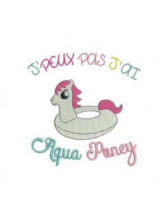 Motif de broderie machine  aqua poney