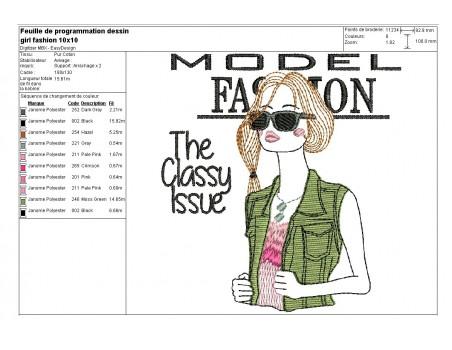 Motif de broderie machine fashion girl