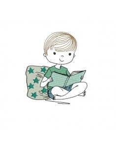 Instant download machine embroidery design little boy book