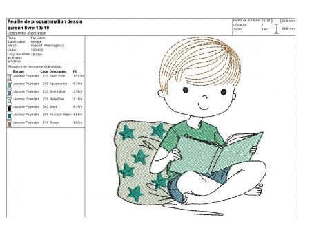 Motif de broderie machine petite garçon lecture